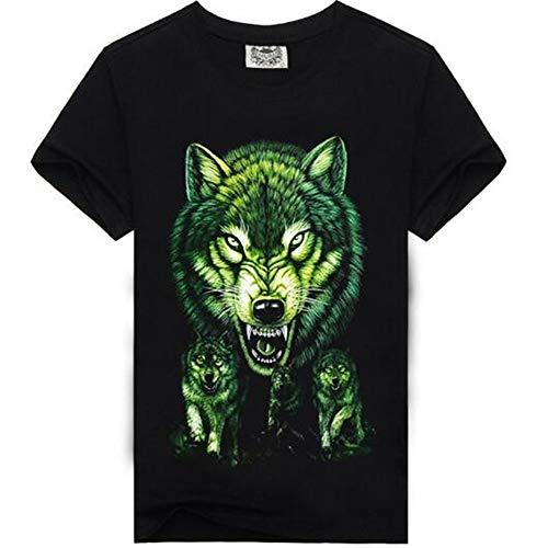 Herren Neuheit T-Shirt 2019 Sommer Casual Kurzarm 3D Digital Gedruckt T Shirt Tops Premium,3D Gedruckter Wolfskopf RundhalsXL -