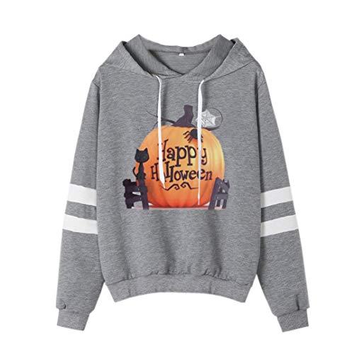 Spriteman Damen Halloween Kürbis Gedruckt Sweatshirt Lange Ärmel Beiläufig Kapuzen-Shirt Bluse Top/Lose Rollkragen Sweatshirt Kapuzenpullover Oberteile(Gray,S)