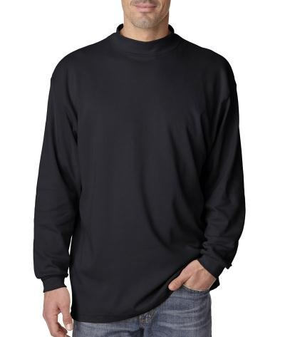 UltraClub Adult Egyptian Interlock Mock Turtleneck T-Shirt, Black, X-Large (US)