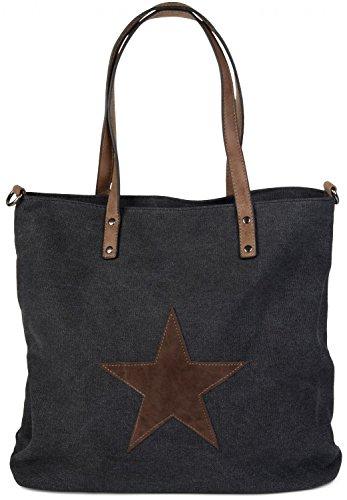 styleBREAKER Canvas Shopper Handtasche mit aufgenähtem Stern, Schultertasche, Umhängetasche, Damen 02012048, Farbe:Schwarz