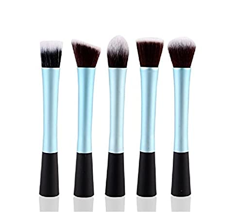 EVERMARKET 5 Pcs Pro Techniques Premium Synthetic Kabuki Makeup Brush Set Includes Foundation, Blush, Bronzer, Concealer, & Mineral Brushes (Light Blue)