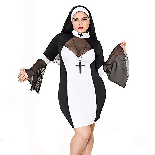 HJG Plus Size Naughty Nonne Kostüm, Halloween Cosplay Schwester Uniform Dessous Set von Frauen Flirty Nonne (Priester Plussize Kostüm)