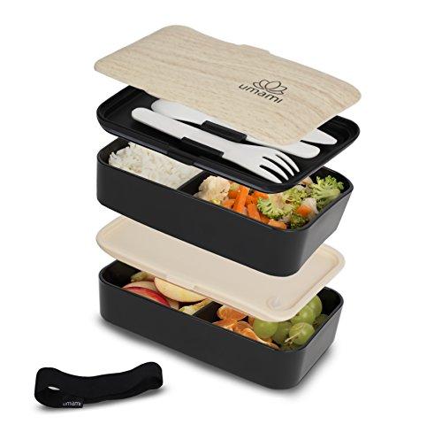 Umami Bento Original Noir - Lunch Box À 2 Compartiments Hermétiques Et 3 Couverts Solides | Convient Aux Adultes comme Aux Enfants | Passe Au Micro-Ondes Et Au Lave-Vaisselle | Durable, Sain & Design