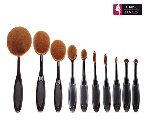 10 pc Soft ovale brosse à dents de les systèmes de brosse du maquillage brosse fondation correcteur crème contour Powder Blush Pinceau cosmétique ensemble d'outils