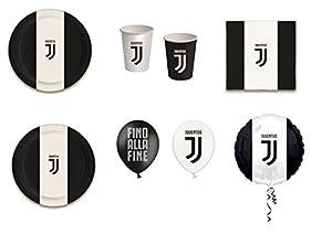 coordinato Sport Fútbol F.C. Juventus para cumpleaños eventos addobbi Tabla Día-Kit N ° 18cdc- (24platos, 24vasos, 40servilletas, 1Balón Foil, 12globos)