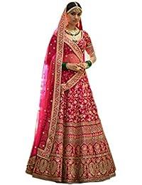 Meghalya Women's Art Silk Lehenga Choli (Pink,Free Size)