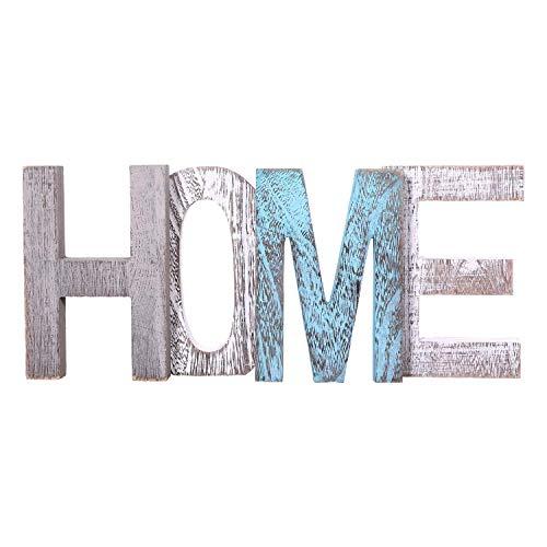 Letras de madera decorativas 'HOME' - Letras de madera grandes para decoración de paredes en azul rústico, blanco y gris-Decoración rústica del hogar para la sala de estar - Rustico Home Decor Acentos