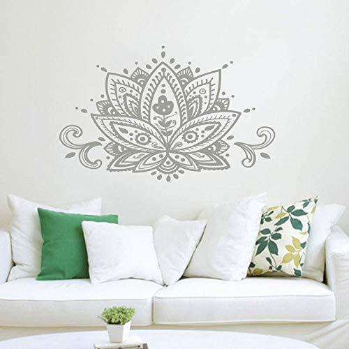 Lotusblume Wandtattoo Namaste Wandaufkleber Boho Bohemian Home Decor Indisches Muster Yoga Studio Wandbild 67x42cm