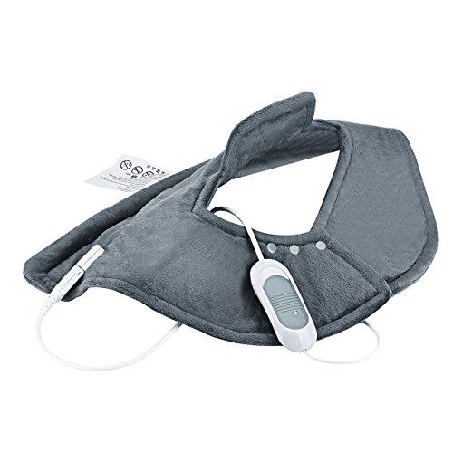 Atmoko termoforo elettrico cervicale e spalle, scaldacollo elettrico con 3 impostazioni di calore, sollievo terapeutico per collo e spalla, auto-off funzione, multi-uso per la pancia gambe ecc