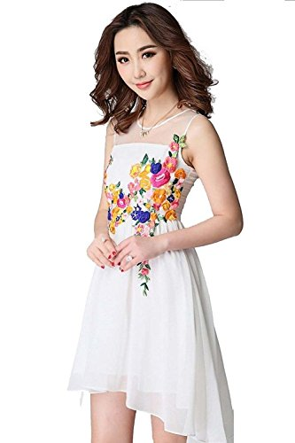 Dress{Choice Fashion White Western Short N-2101 Multi Work Dress}