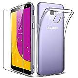 New&Teck Coque Samsung Galaxy J6 2018 - Protection Intégrale en Silicone Transparent TPU + Verre Trempé pour J6 2018 de Haute Qualité, Dureté 9H.