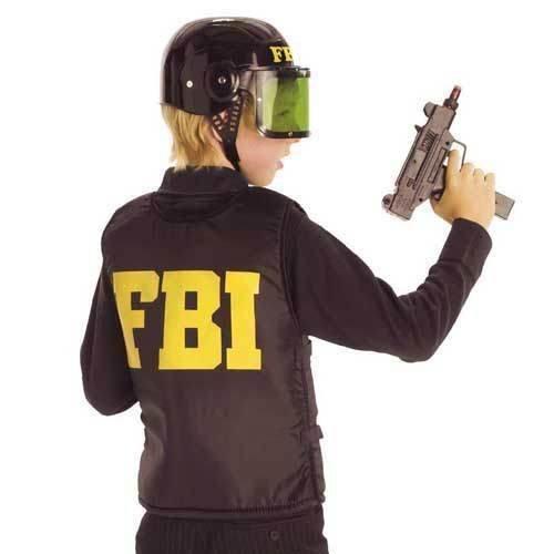 FBI Polizei Schutz Weste Kinder Kostüm Gr 128 (Fbi Kostüm Für Mädchen)