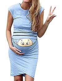 VJGOAL Mujer Verano Moda Casual Color sólido impresión Sexy Apretado sin Mangas de Maternidad Embarazada Vestidos Ajustados