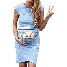 VJGOAL Mujer Verano Moda Casual Color sólido impresión Sexy Apretado sin Mangas de Maternidad Embarazada Vestidos