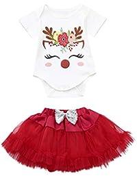 Hawkimin Baby Mädchen Kleid Weihnachten Bekleidung Set Strampler Tütü Rock Weihnachtsausstattungen Eingestellt