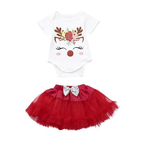 Hawkimin_Babybekleidung Hawkimin Baby Mädchen Kleid Weihnachten Bekleidung Set Strampler Tütü Rock Weihnachtsausstattungen Eingestellt