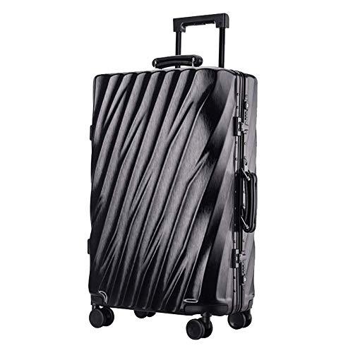 YUNY ABS Hartschalen-Reisetrolley Koffer mit 4 Rädern, leicht, TSA-Zollschloss für Geschäftsreisen, 20 verschiedene Farben, Schwarz -
