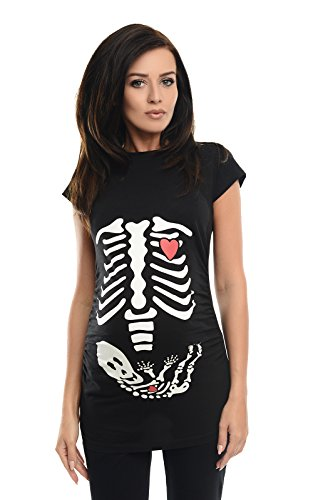 Purpless Geschenk für Schwangere Damen Umstands-Oberteil Lustige Umstandsmode Baumwolle Frauen Top Mütter T-Shirt mit Skeleton Baby Skelett Druck 2003 (38, Black)