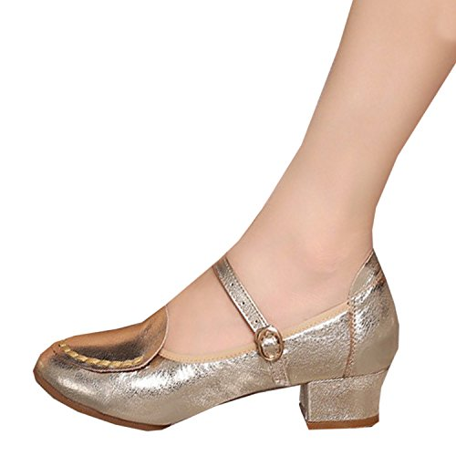 Oasap Femme Mode Mary Janes Chaussure Danser Bout Rond gold