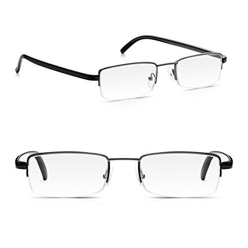 Read Optics Doppelpack Herren Halbrahmen Stahl Lesebrillen: Rechteckige Qualitäts-Linsen in poliertem Gunmetal mit Glänzenden Schwarz Konturierten Armen, Stärke +2.0