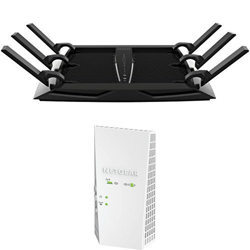 Preisvergleich Produktbild Netgear R8000-100PES NIGHTHAWK X6 AC3200 Wireless 802.11ac Tri-Band Gigabit Router und EX6400-100PES Dual-Band-WLAN Extender Set
