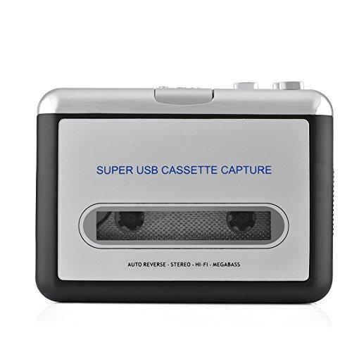 Kafuty USB-Kassette auf PC MP3 Plug & Play Audioausgang CD-Umschalter Konverter Audio-Musik-Player mit Kopfhörern