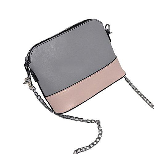 Tasche Bags Loveso Damen Mode Jung Niedlich Einfache Nahtfarbe Kette Band PU Leder Mini Umhängetasche Beiläufige Beutel Telefon Tasche (Grau) Grau