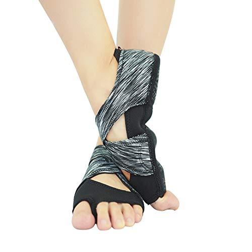 CxIACom Professionelle Damen Yoga-Schuhe mit elastischem Riemen Rutschfest Indoor Dance Pilates M Schwarz