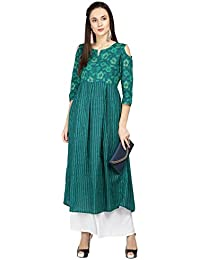 Janasya Women's Green Cotton Cold Shoulder Flared Floral Print Kurta