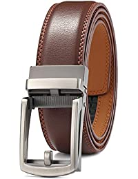 Men's Leather Belt with Automatic Buckle 35mm wide Ratchet Dress Belt / -Trim to Fit