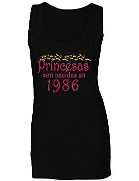 Princesas son nacidas en 1986 camiseta sin mangas mujer qq36ft