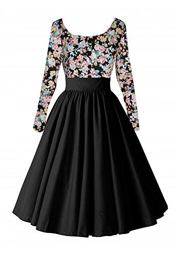 VINDOOXI vintage - frauen zittern floral patchwork - plus size lange kleid (M, schwarz)