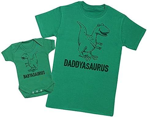 Daddysaurus & Babysaurus - Ensemble Père Bébé Cadeau - Hommes T-shirt & Body bébé - Vert - Large & 0-3 mois