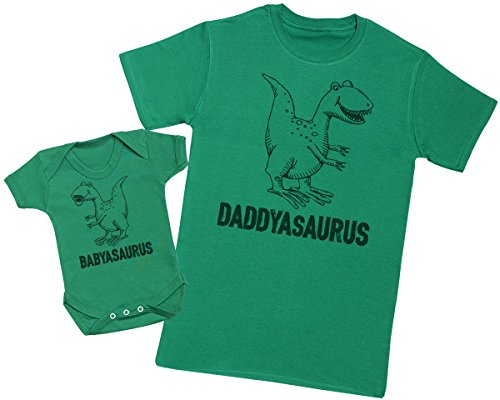 daddysaurus-babysaurus-matching-father-baby-gift-set-mens-t-shirt-baby-bodysuit-green-x-large-0-3-mo