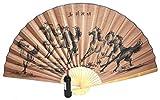 Asia Art Factory AAF Nommel®, großer Dekofächer 90/160 cm aus Papier und Bambus Motiv Wildpferde braun schwarz, Nr. 058
