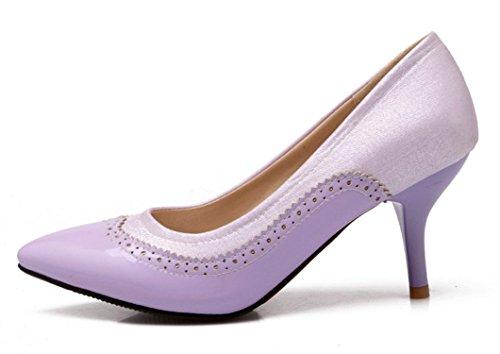 YE Damen 7cm Absatz Kitten Heel Leder High Heels Spitze Zehen Geschlossen Stiletto Brogues Pumps Work Office Schuhe Lila
