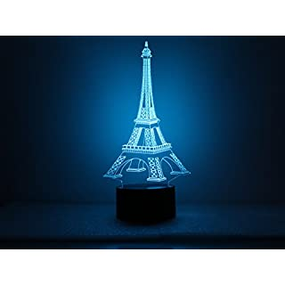 Saim Geography Architecture USB Powered Touch Switch 3D Desk Lamp Decorative Night Light Multi 7 Color Change (Eiffel Tower)