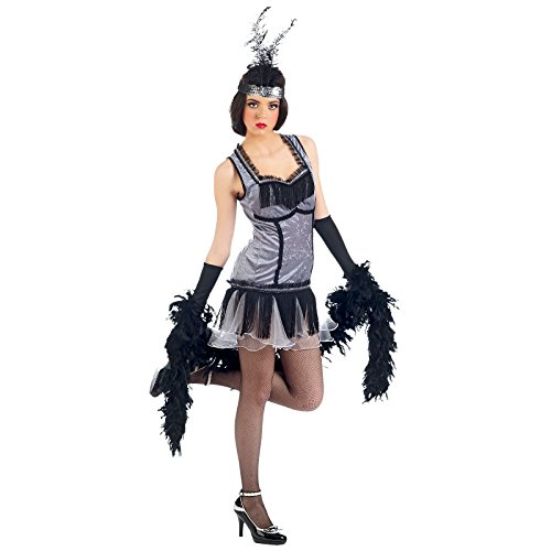 Elbenwald Cabaret Kleid mit Haarband Zwanziger Jahre Kostüm Damen zu Mottoparty und Karneval Silber - (Zwanziger Jahre Kostüm)