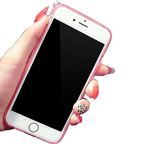 MOMDAD iPhone 7 Coque Strass Diamant Case iPhone 7 Transparent Coque iPhone 7 TPU Silicone Coque pour iPhone 7 4.7 Pouces Souple Coque téléphone portable Case iPhone 7 Motif Coque Housse iPhone 7 Etui Lapin-Rose