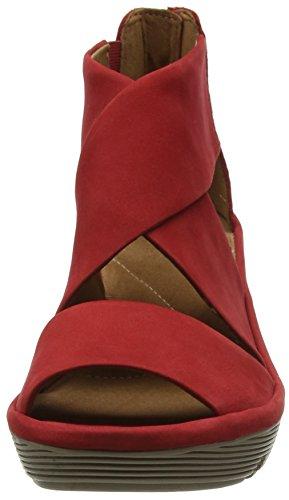 Clarks Clarene Glamor, Sandales Bout Ouvert Femme Rouge (Red Nubuck)