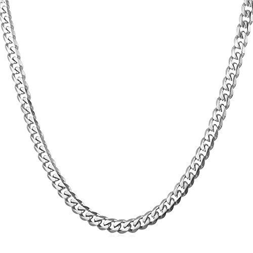 U7 3 mm Panzerkette für Männer Herren Edelstahl Halskette Gliederkette Silber Ton Hiphop Biker Rocker Kette (Länge 46cm)