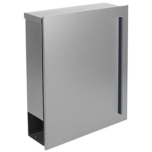Design-Briefkasten mit Zeitungsfach 12 Liter silber seidenglanz (RAL 9006) MOCAVI Box 115 weißaluminium Wandbriefkasten Postkasten - 2