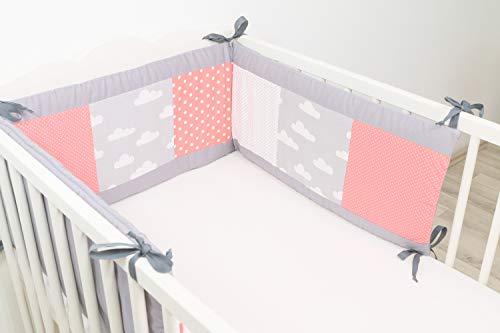 ULLENBOOM ® Nestchen Coral Wolken (210x30 cm Baby Bettnestchen, Bettumrandung für 140x70 cm Babybett - Kopfbereich, Motiv: Punkte, Sterne) -