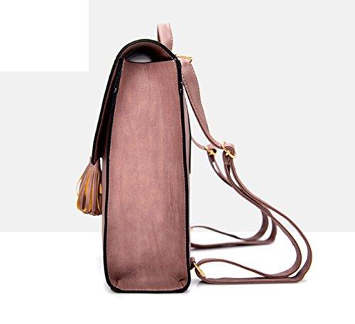 QPALZM Frau Retro Troddel Schrubben Reise Multifunktionale 2017 Mädchen Tasche Rucksack Brieftasche Pink