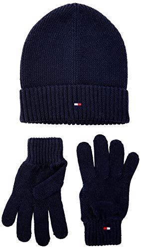 Tommy Hilfiger Unisex Mütze, Schal & Handschuh-Set FLAG KNIT BEANIE & GLOVES GP Blau (BLUE CJM) One Size (Herstellergröße:OS)