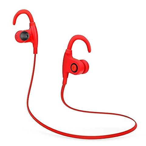 Écouteurs Sports LESHP Oreillette Etanche Bluetooth 4.1 Résistant à la Transpiration Écouteurs Sans Fil avec Microphone HD Réduction de Bruit Courir sur l'Oreille Écouteurs pour iPhone Android et Faire les Sports Intérieur ou Extérieur (Rouge 1)