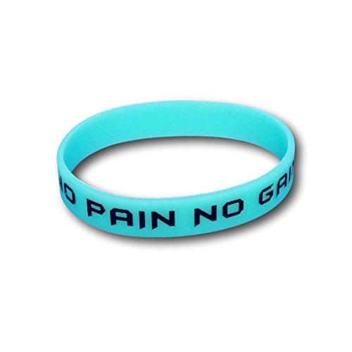 nachts grün leuchtend mit Texten wristband glow in the dark Silikon-Armband (Grün, No Pain No Gain) ()