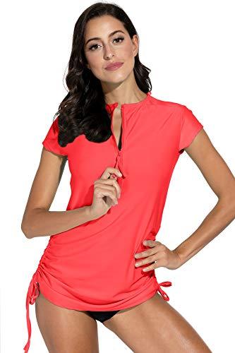 BesserBay Damen Bademode Rash Guard UV Shirts Kurzarm Surf Shirt Schwimmen Tankini Badeshirts UPF 50+, 40, Wassermelone Rot