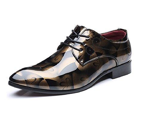 Zapatos Oxford Hombre, Cuero Cordones Vestir Derby Calzado Boda Negocios Marron Azul Gris Rojo 37-50EU GD41