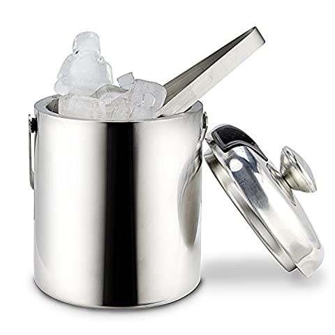 Ice Bucket, GWHOLE Stainless Steel Double Walled Ice Bucket with Lid and Tong, 1.3 L/0.26 Gal